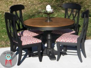 black and red dining set