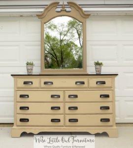 burlap 9 drawer dresser with mirror
