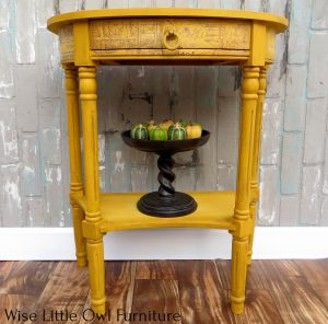 yellow accent table front view