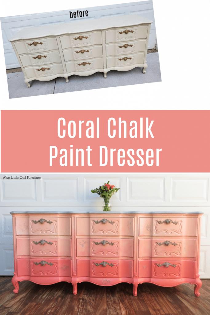 coral dresser pin