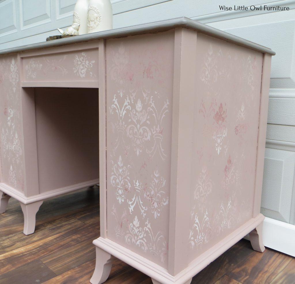 soft pink desk side and back