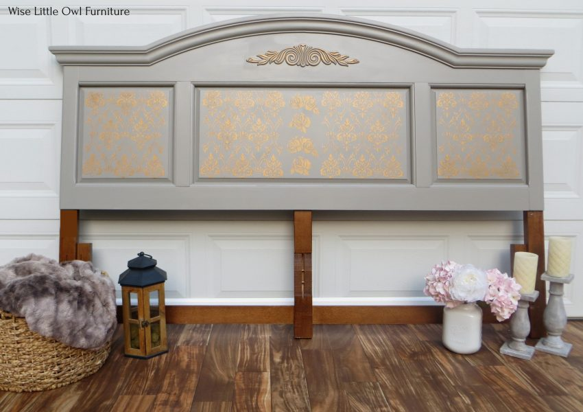 french linen rose gold stenciled headboard