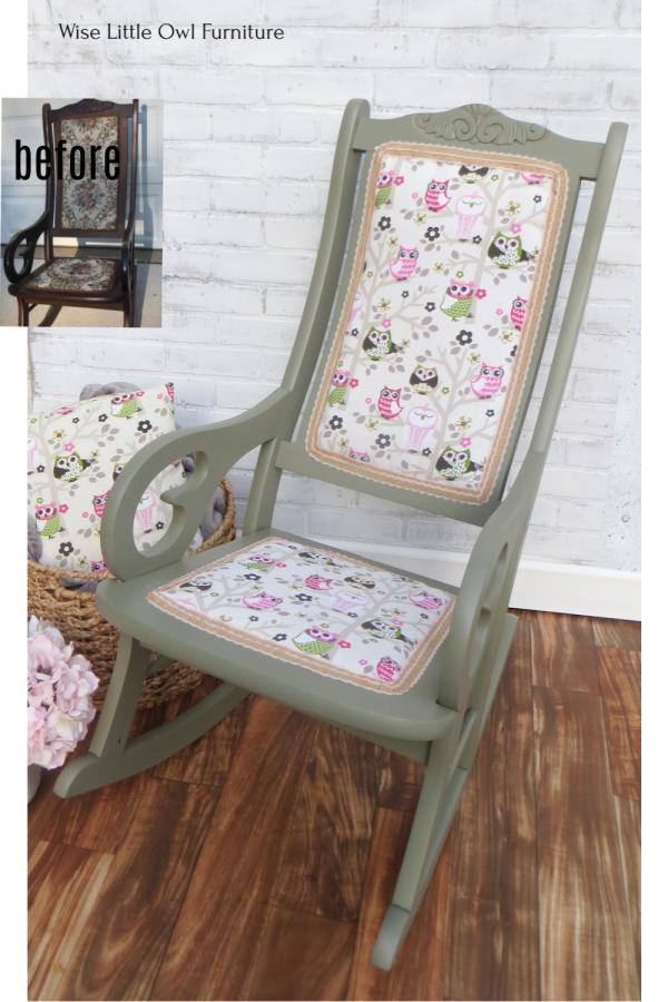 owl rocking chair pin
